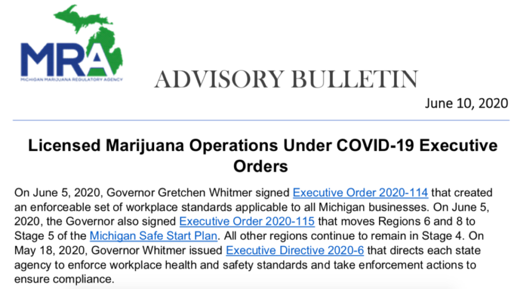Licensed Marijuana Operations Under COVID-19 Executive Orders June 10th, 2020