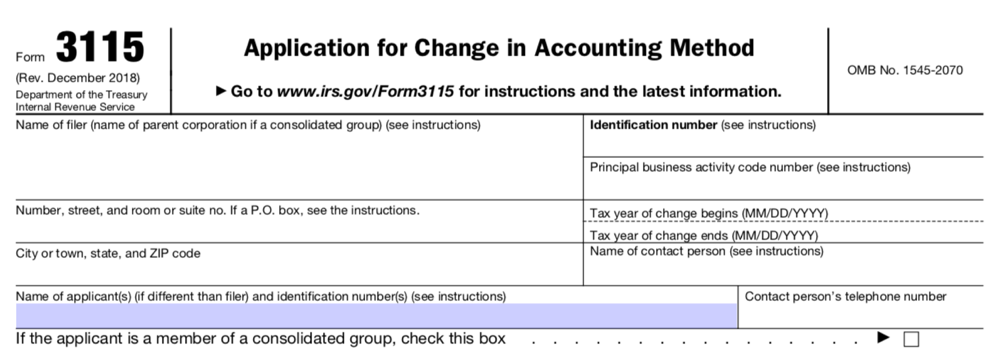 IRS Form 3115, Application for Change in Accounting Method