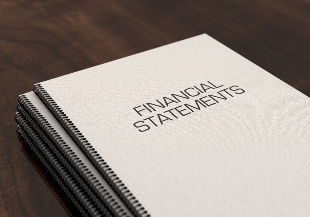 Financial Statements Bound Booklet Pile stock photo